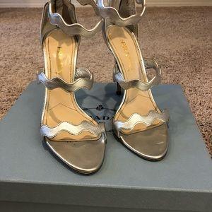Prada scalloped silver metallic heels